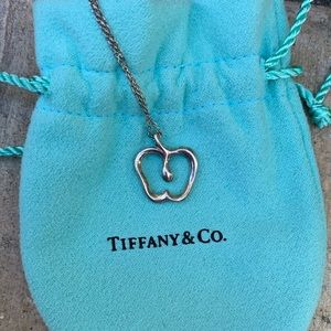 Tiffany & Co Stencil Apple Pendant with Necklace